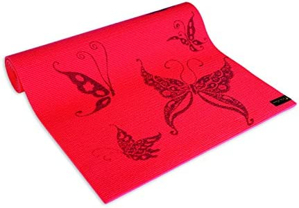 Wai Lana Yoga and Pilates Mat Butterfly Coral – 1 4 Inch Extra Thick Non-Slip, Stylish, Latex-Free