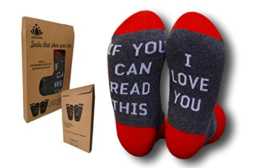 IF YOU CAN READ THIS/I LOVE YOU Cotton Crew Valentine's Day Gift Socks for Men Women in a nice GIFT Box - Date Day Valentines