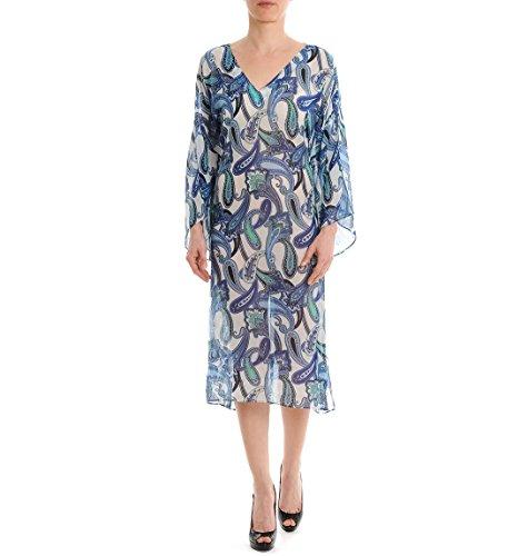 Etro Damen 139025616200 Blau Seide Kleid