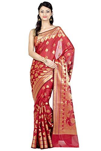 (Chandrakala Women's Red Cotton Silk Blend Banarasi Saree,Free Size(1133RED))