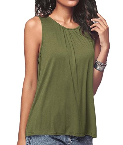 Nicellyer Women's Basic O-Neck Solid-Colored Cotton Oversized Knit Camisole