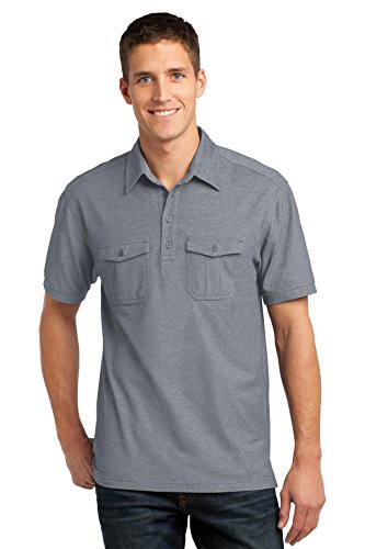- Port Authority Men's Oxford Pique Double Pocket Polo XL Monument Grey/White