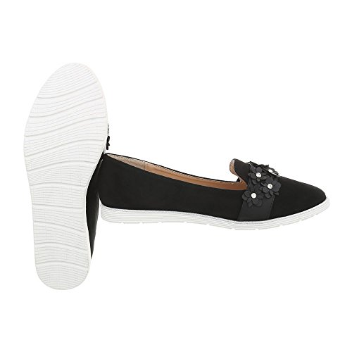 Ital-Design Slipper Damen-Schuhe Halbschuhe Schwarz, Gr 38, N-75-