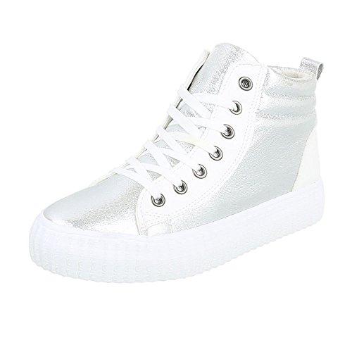 Ital-Design High-Top Sneaker Damenschuhe High-Top Sneakers Schnürsenkel Freizeitschuhe Silber Weiß