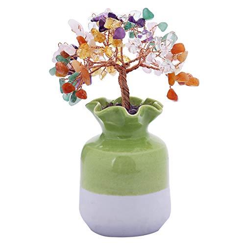 mookaitedecor Colorful Crystal Tree with Green Ceramic Base Bonsai Money Tree for Wealth and - Bonsai Ceramic Tree Figurine