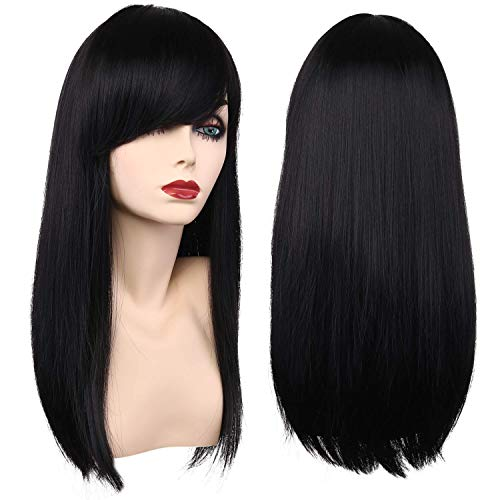Girls Kids Long Straight Black Costume Hair Wigs Women Cosplay Party Wig (2001 Black)]()