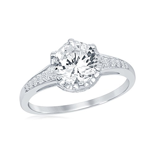 - Sterling Silver Sparkling Round Asscher Cut Cubic Zirconia Six-Prong Designed Setting Engagement Ring
