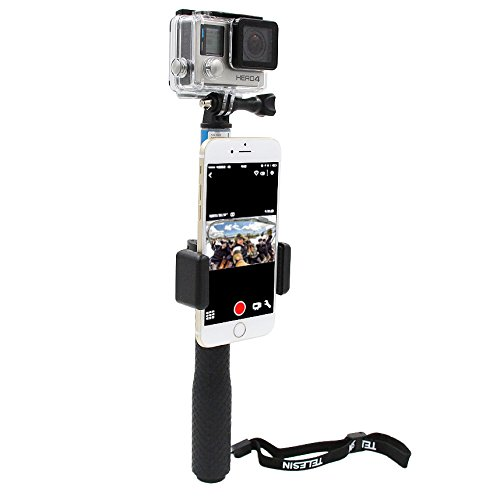 TELESIN Self Portrait Cellphone Lock Catch with Cell Phone Clip for Gopro Handheld Monopod Selfie Stick, Universal Cellphone Display Lock for Gopro