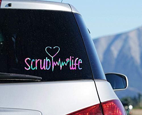 Scrub Life Car Decal, Yeti Nurse Sticker, Stethoscope Laptop Decal, Your Choice of Size and Pattern