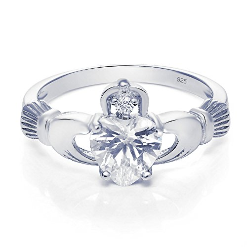 Sterling Silver Claddagh Promise Ring For Her with Clear Cubic Zirconia, 8mm (9) ()