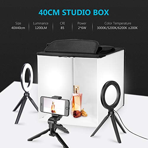 Neewer Photo Studio Box, 16x16inches Table Top Photo Light Box Continuous Lighting Kit with 3 Tripod Stands 2 LED Ring Lights, 4 Color Backdrops and a Phone Holder for Product -
