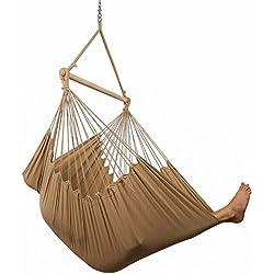Hammock Sky XXL Hammock Chair Swing Patio, Porch, Bedroom, Backyard, Indoor Outdoor - Includes Hanging Hardware Drink Holder (Iced Coffee)