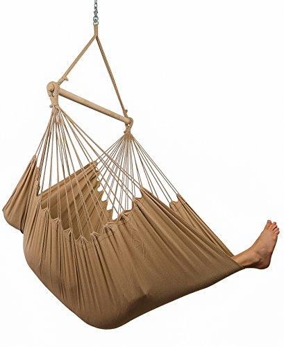 XXL Hammock Chair Swing by Hammock Sky – for Patio, Porch, Bedroom, Backyard, Indoor or Outdoor – Includes Hanging Hardware and Drink Holder Iced Coffee