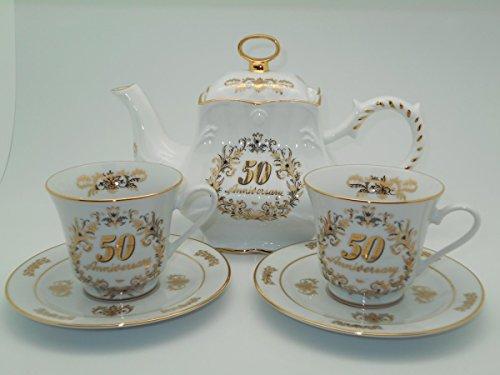 50th Anniversary Tea Set, Luxury Gold Trim, Tea Pot 2 Cups and Saucers