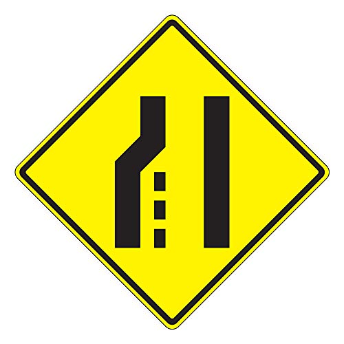 MUTCD W4-2L Left Lane Ends Sign, 3M Reflective Sheeting, Highest Gauge Aluminum,Laminated, UV Protected, Made in U.S.A (3M Diamond Grade DG3/.125 Highest Grade Aluminum, 24
