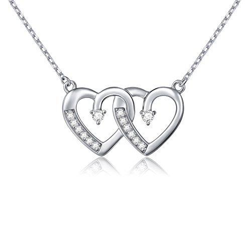 925 Sterling Silver Cubic Zirconia Interlocking Heart Chain Pendant Necklace for Women, 18