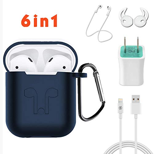 MICOK Compatible Airpods Case, 6 in 1 Airpods Accessories Set, Silicone Shock Proof Case Cover and Skin with Keychain/Anti-Lost Strap/Earhooks/Compatible Airpods