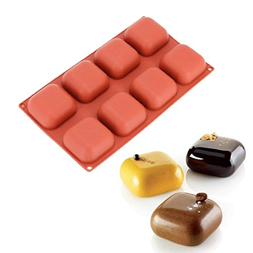 Wewin Wine Red 3D Silicone 8 Cavity Square Gem Design Mold for Mousse Cake Soap Pudding Chocolate Bakeware Decoration Tools