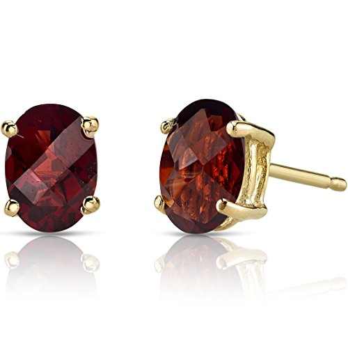 (14K Yellow Gold Oval Shape 2.00 Carats Garnet Stud Earrings)