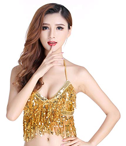 Dance Bra Top Tribal Glitter Sparkle Belly Dance Beaded Sequined Bra Costume Rave Cabaret Party Gold - Dance Belly Cabaret