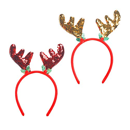 Christmas Headbands, Reindeer Ears, Glitter Antlers Headband, Headwear Holiday Party Accessory Halloween Costume ,fit for Children and Adult (Pack 2)