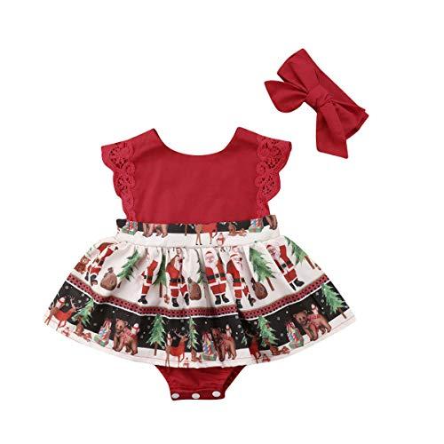 citgeett Newborn Infant Baby Girls Red Xmas Santa Romper Dress Christmas Lace Bodysuit Headband Outfit Clothes -