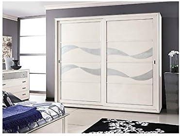 Armario de puertas correderas madera maciza lacada blanco hojas plata – como fotográfico: Amazon.es: Hogar