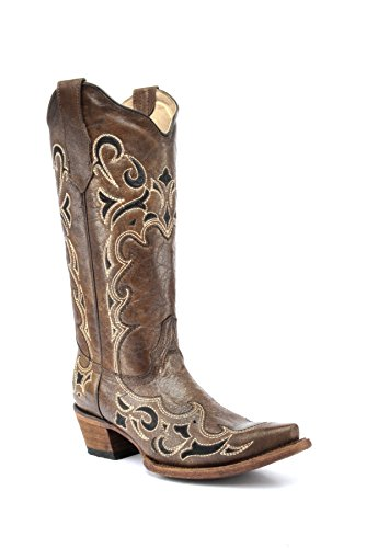Corral Circle G Boot Women's 12-inch Distressed Leather Side Embroidery Snip Toe Brown/Black Western Boot ()