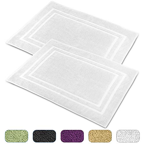 Talvania Cotton Banded Bath Mats, 100% Ring Spun Genuine Cotton – Highly Absorbent, Maximum Softness, Easy Care & Machine Washable Shower Bathroom Rugs Floor Towel 2 Pack (23 x 32Inch) (White)
