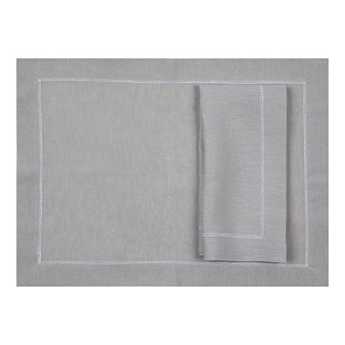 Silver Grey Linen Placemat With Contrast White Hemstitch (Set of Six) by Huddleson Linens