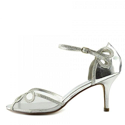 mit Damen Footwear Knöchelriemenschuhe Kick Absatzhochzeitsandalen Schnalle Silber qFvRdtWS