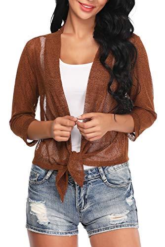 Aranmei Womens Sheer Shrug Cardigan Tie Front 3/4 Sleeve Bolero Jacket(Brown, - Sweater Evening Top