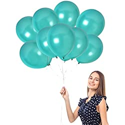 Treasures Gifted 100pcs of 12 Inch Ultra Thick Latex Balloons Turquoise Pearl Teal Thick Latex Metallic Balloons Decorations Pack of 100 and Ribbon