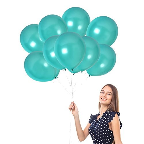 Treasures Gifted 100pcs of 12-Inch Ultra-Thick Latex Balloons Turquoise Pearl Teal Thick Latex Metallic Balloons Decorations Pack of 100 + Ribbon