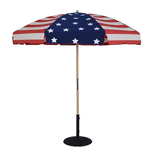 Stripe Ash Wood (7.5 Ft Stars & Stripes Beach Umbrella Heavy Duty Frame and Fabric)
