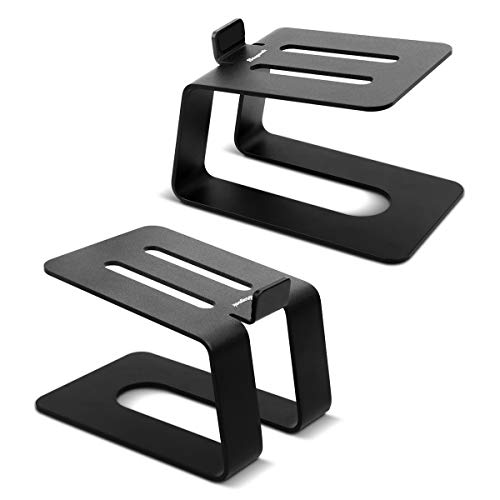 Stageek Aluminum Desktop Speaker Stands, Pair, Universal Desk Stand for Small, Medium Bookshelf Computer Speakers, Black (Studio Monitor Stand)