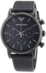 Emporio Armani Classic Chronograph Black Dial Black Leather Mens Watch AR1737