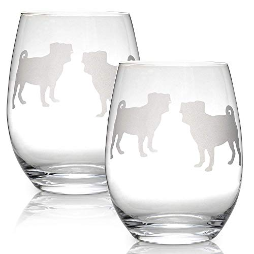 Pug Stemless Wine Glasses (Set of 2) | Unique Gift for Dog Lovers | Hand Etched with Breed Name on -