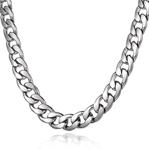 Trendsmax 11mm Mens Boys Curb Cuban Link Chain Silver Tone Stainless Steel Necklace 18inch ()
