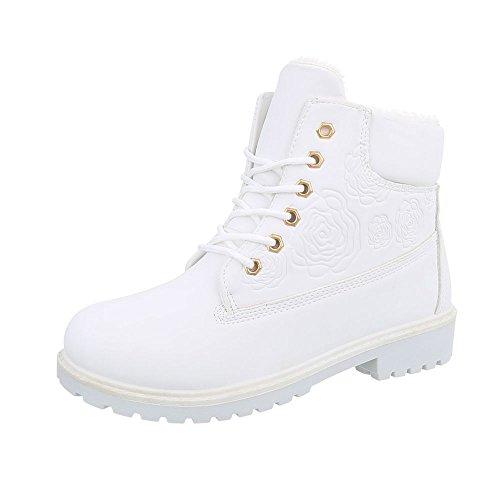 Stiefel & Boots Kinderschuhe Klassischer Stiefel Blockabsatz Mädchen Schnürsenkel Ital-Design Stiefeletten Weiß XBY-02
