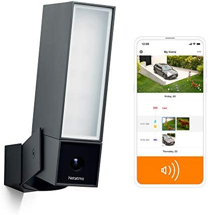Netatmo Smart Outdoor Security Camera with 105-dB Siren, Wi-Fi, Integrated Floodlight, Movement Detection, Night Vision, Without Fees, NOC-S-US