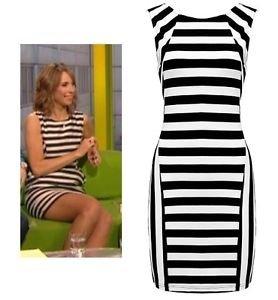 fd751ce7325a Appearance Counts Black & White Horizontal & Vertical Striped Monochrome  Stretch Bodycon Dress L (UK