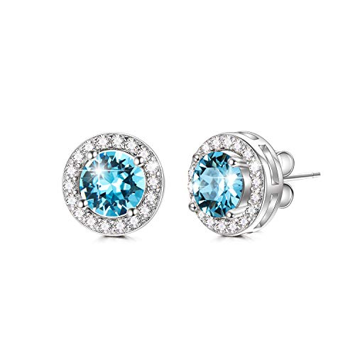 Halo Earrings 925 Sterling Silver with Simulated Aquamarine Swarovski Crystal, Hypoallergenic Stud Earrings, Women Jewelry Birthday Gifts for Daughter Mom Sister Niece Girlfriend Wife Fiancée