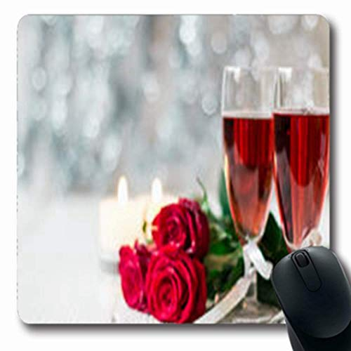 Mousepads Heart Romantic Still Life Pink Champagne Romance Food Drink Valentine Holidays Alcohol Oblong Shape 7.9 x 9.5 Inches Oblong Gaming Mouse Pad Nonslip Rubber Mat ()