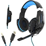 CHASDI G9000 Stereo Gaming Headset for Xbox One PS4 PC, Surround Sound Over-Ear Headphones with Noise Cancelling Mic, LED Lights, Volume Control for Laptop, Mac, iPad, Nintendo Switch Games (Blue)