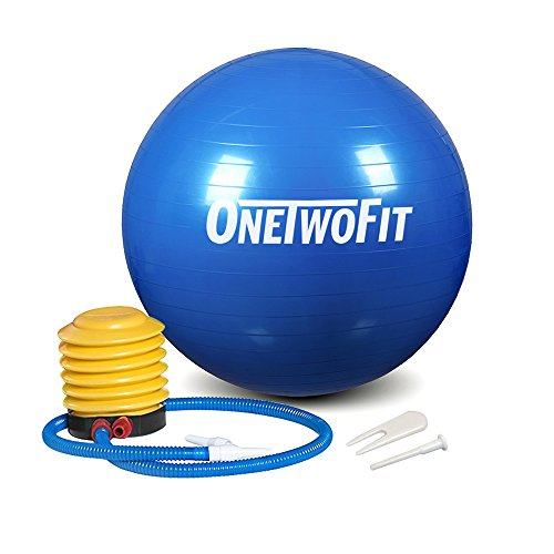 OneTwoFit 85cm Extra Thick Yoga Ball Anti-Slip & Anti-Burst Exercise Balance Ball with Foot Pump for Pilate Abdominal Workout Fitness (Blue) Review