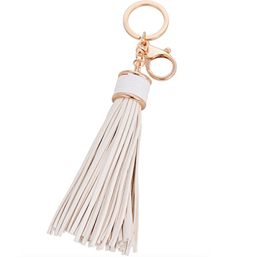 Elesa Miracle Girl Women Leather Tassel Keychain, Handbag Wallet Accessories, Car Key Chain Rings (White) for $<!--$9.99-->