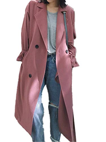 Autunno Cappotti Classiche Double Monocromo Windbreaker Breasted Primaverile Casual Giacca Manica Rosa Tasche Lunga Outerwear Donne Cappotto Fashion Con Donna zwPI0xIqE