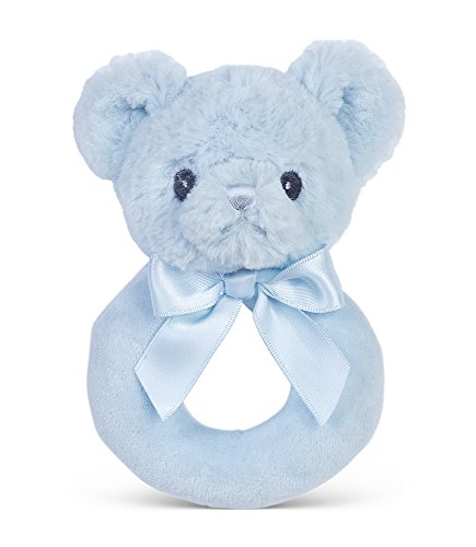 Bearington Baby Huggie Plush Stuffed Animal Blue Teddy Bear Soft Ring Rattle, 5.5