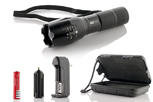 TruPath Brightest High Power LED Flashlight w/ Rechargeable 18650 mAh Battery & Adapter- Ultra Bright 2500 Lumens - Waterproof, Zoomable Torch - Best Tactical Flash Light for Camping/Blackouts & More